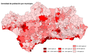 Mapa de la densidad de población andaluza por municipios